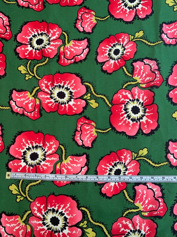 Vibrant Floral Printed Silk Gauze - Green / Strawberry Red / Yellow
