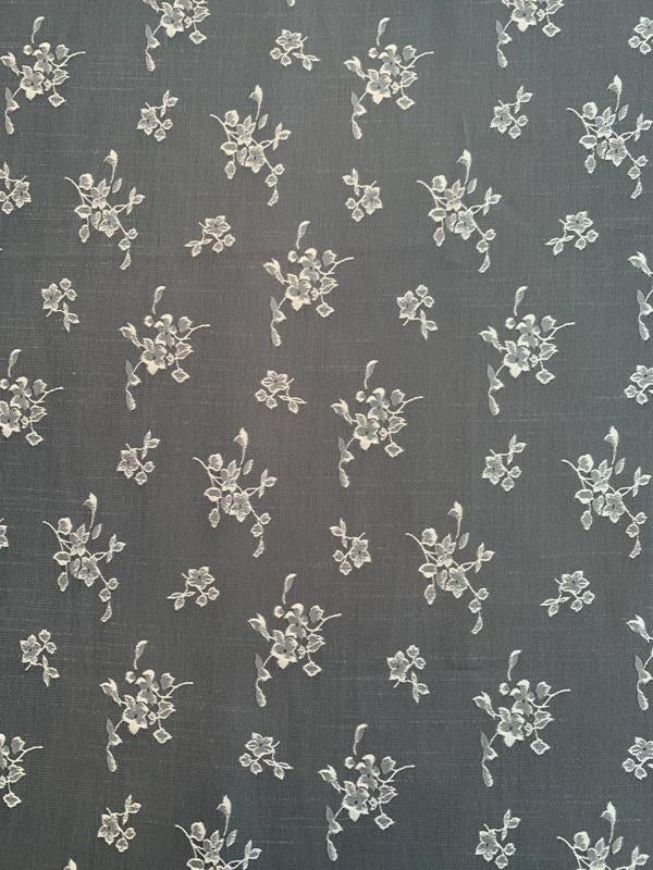 Double-Sided Floral Polyester Shantung Jacquard - Grey / Silver