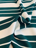 Horizontal Striped Printed Viscose Crepe with Mechanical Stretch - Forest Green / White