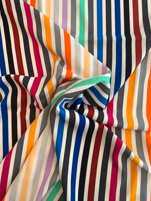 Vertical Striped Printed Viscose Crepe with Mechanical Stretch - Multicolor