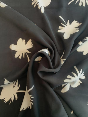 Floral Silhouette Printed Silk Crepe - Black / White
