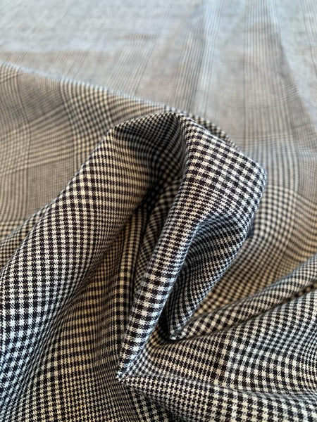 Glen Plaid Yarn-Dyed Cotton Suiting - Black / Off-White