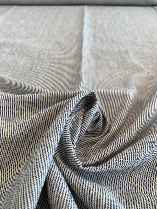 Railroad Striped Yarn-Dyed Cotton Linen - Navy / Off-White