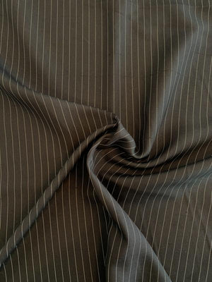 Gangster Striped Silk Suiting - Black / White