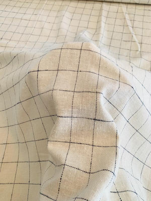 Windowpane Brushed Flannel Cotton Twill - Ivory / Navy