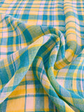 Plaid Yarn-Dyed Cotton Gauze - Turquoise / Yellow / White