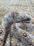 Daisy Floral Printed Cotton Linen - Periwinkle / Off-White / Yellow / Red