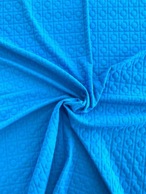 Art Deco Textured Stretch Novelty Knit - Turquoise