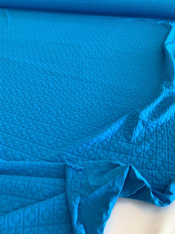Art Deco Textured Novelty Poly Spandex Knit - Turquoise