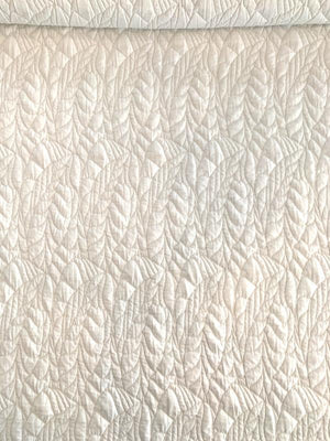 Quilt-Like Leaf Stretch Novelty Knit - Off-White
