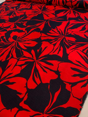 Bold Floral Printed Cotton Linen - Red / Navy