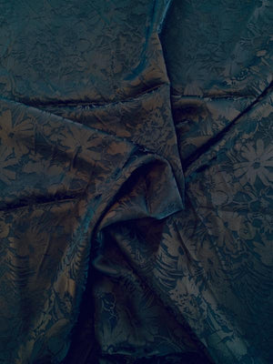 Medium-weight Floral Rayon Jacquard - Navy