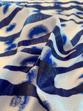Novelty Burnout Lightweight Organza with a Paint Print Finish - Blue / White / Deep Royal