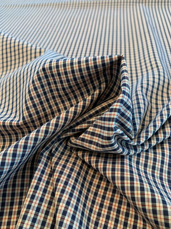 Mini Plaid Yarn-Dyed Cotton Shirting - Blue / Ivory / Red
