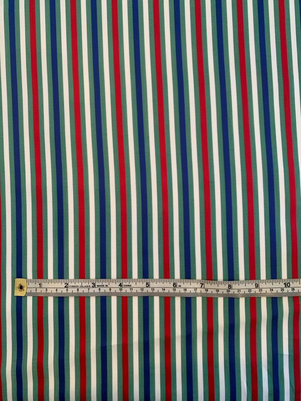 Vertical Striped Yarn-Dyed Cotton Shirting - Green / Red / Blue / White