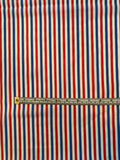 Vertical Striped Yarn-Dyed Cotton Shirting - Red / White / Blue