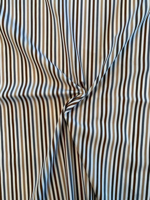 Vertical Striped Yarn-Dyed Cotton Shirting - Brown / Tan / Grey / White