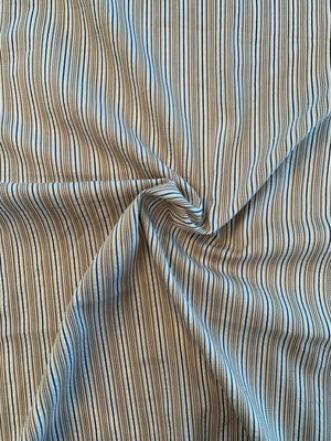 Vertical Striped Fine Seersucker Cotton Shirting - Tan / Brown / Grey