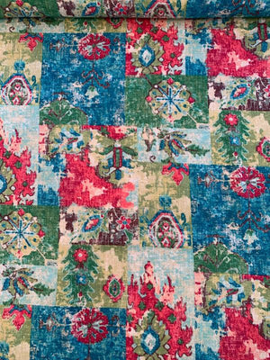 Patchwork Floral Printed Cotton Linen - Multicolor