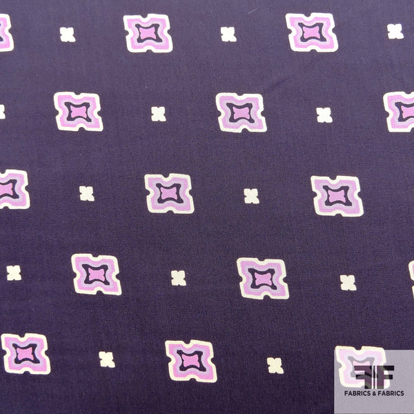 Square Printed Silk Chiffon - Blue/Purple