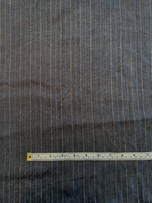 Vertical Striped Linen Suiting - Grey / Blue / White