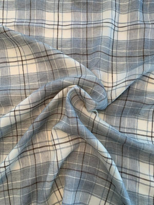Plaid Yarn-Dyed Linen Rayon Suiting - Pale Blue / Grey / Ivory / Mocha