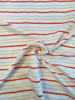 Horizontal Striped Gabardine Rayon Cotton Suiting - Ivory / Red / Sky Blue