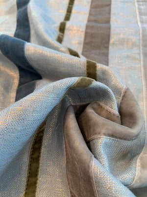 Novelty Gold Foil Printed Linen with Vertical Stitched Velvet Trim - Grey / Gold / Olive