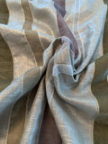 Novelty Silver Foil Printed Linen with Vertical Stitched Velvet Trim - Silver / Tan / Grey