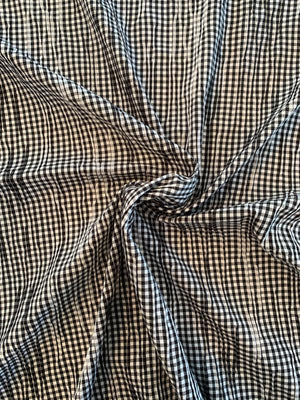 Gingham Check Cotton Shirting with Gathered Pleating - Black / White