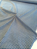 Polka Dot Printed Stretch Cotton Sateen - Blue / White