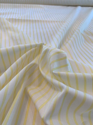 Japanese Vertical Striped Cotton Shirting - Yellow / White