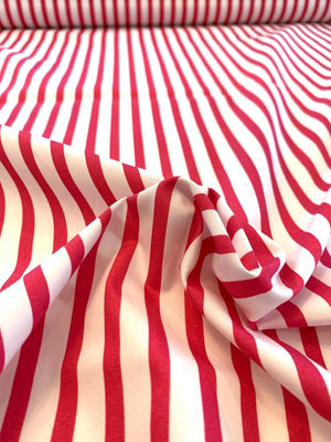 Vertical Striped Printed Cotton Shirting - Magenta / White