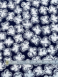 Playful Floral Printed Cotton Pique - Navy / White