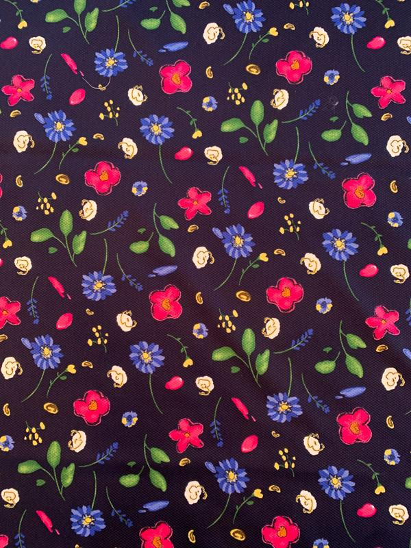 Watercolor Floral Printed Birdseye Cotton Pique - Navy / Blue / Magenta / White