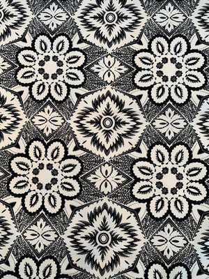 Bold Floral Mosaic Printed Stretch Linen-Weave Cotton - Black / White