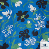 Floral Printed Silk Crepe De Chine -Blue/Green/Black