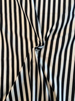Vertical Striped Stretch Cotton Denim - Black / White