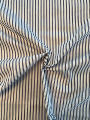 Vertical Striped Cotton Twill - Blue / White