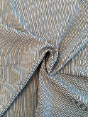 Vertical Striped Cotton Denim - Blue / Tan
