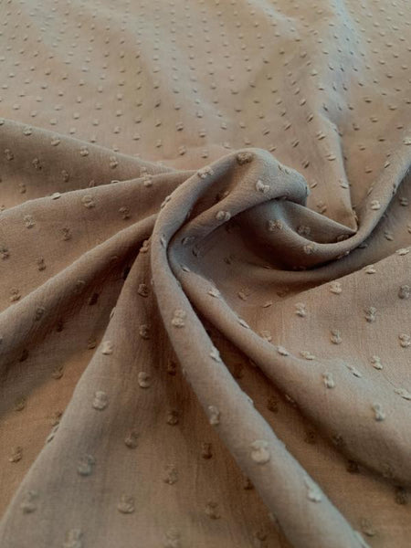 Swiss Dot Cotton Voile - Taupe Grey