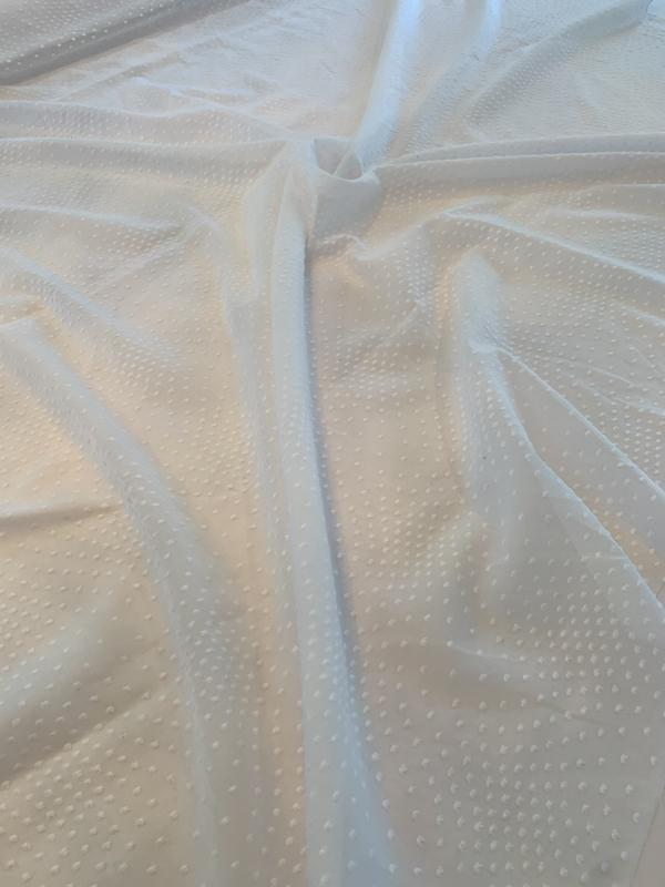 Swiss Dot Cotton Voile - White
