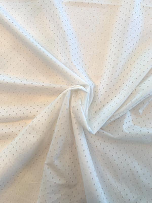 Perforated Mini Circles Cotton Broadcloth - White