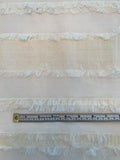 Horizontal Eyelash Fringe Striped Cotton Novelty - Cream