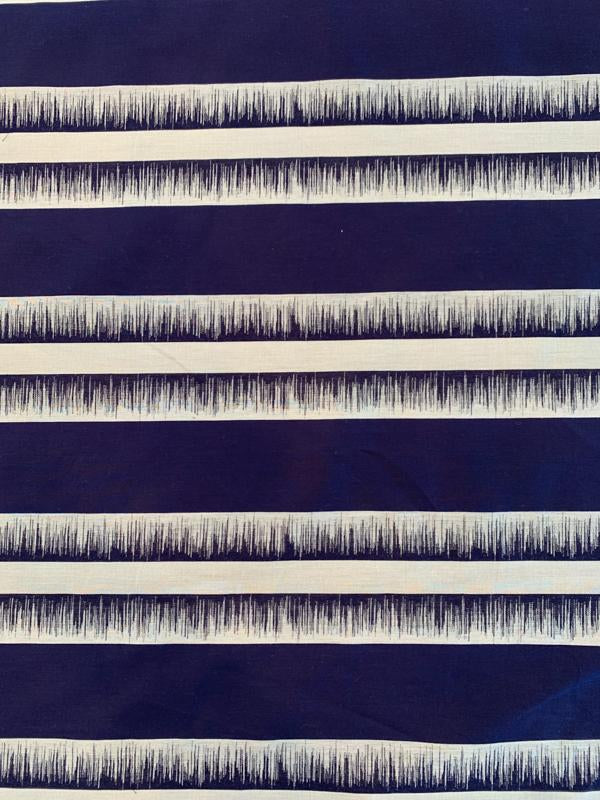 Italian Horizontal Linear Design Yarn-Dyed Cotton Suiting - Navy / Grey