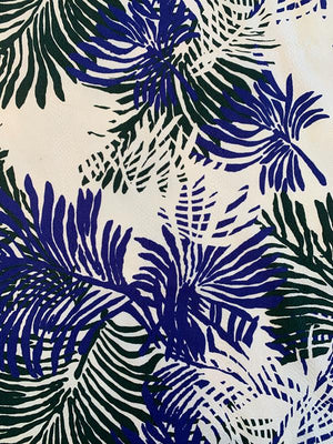 Large Tropical Leaf Printed Stretch Cotton Pique - Spruce Green / Royal Blue / White