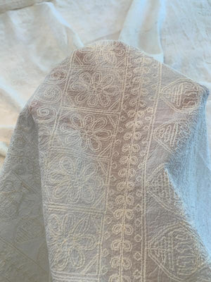 Embroidered Ethnic Design Cotton Voile - Cream