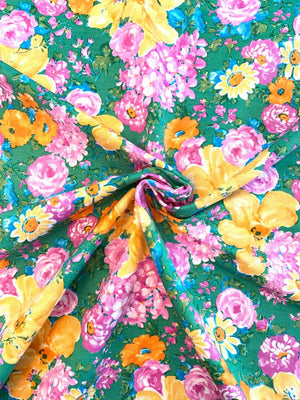 Painterly Floral Printed Silk and Cotton Faille - Green / Multicolor