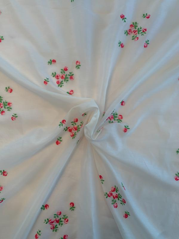 Austrian Delicate Floral Embroidered Silk and Cotton Voile - Ivory / Magenta / Green