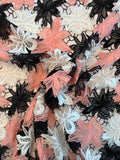 Floral Double-Scalloped Guipure Lace - Salmon Pink / White / Black